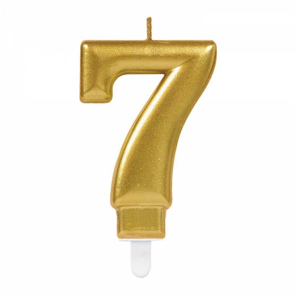 7 Rakam Altın Işıltılı Mum 7 cm