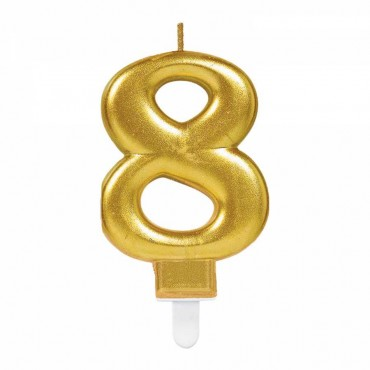 8 Rakam Altın Işıltılı Mum 7 cm