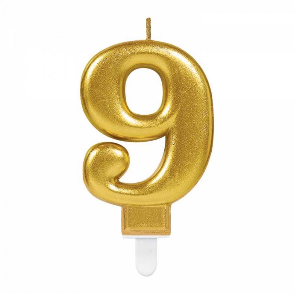 9 Rakam Altın Işıltılı Mum 7 cm