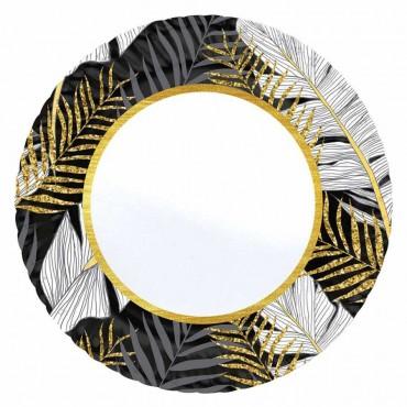 Altın Simli Yapraklar Siyah Karton Tabak 23 cm 8\'li