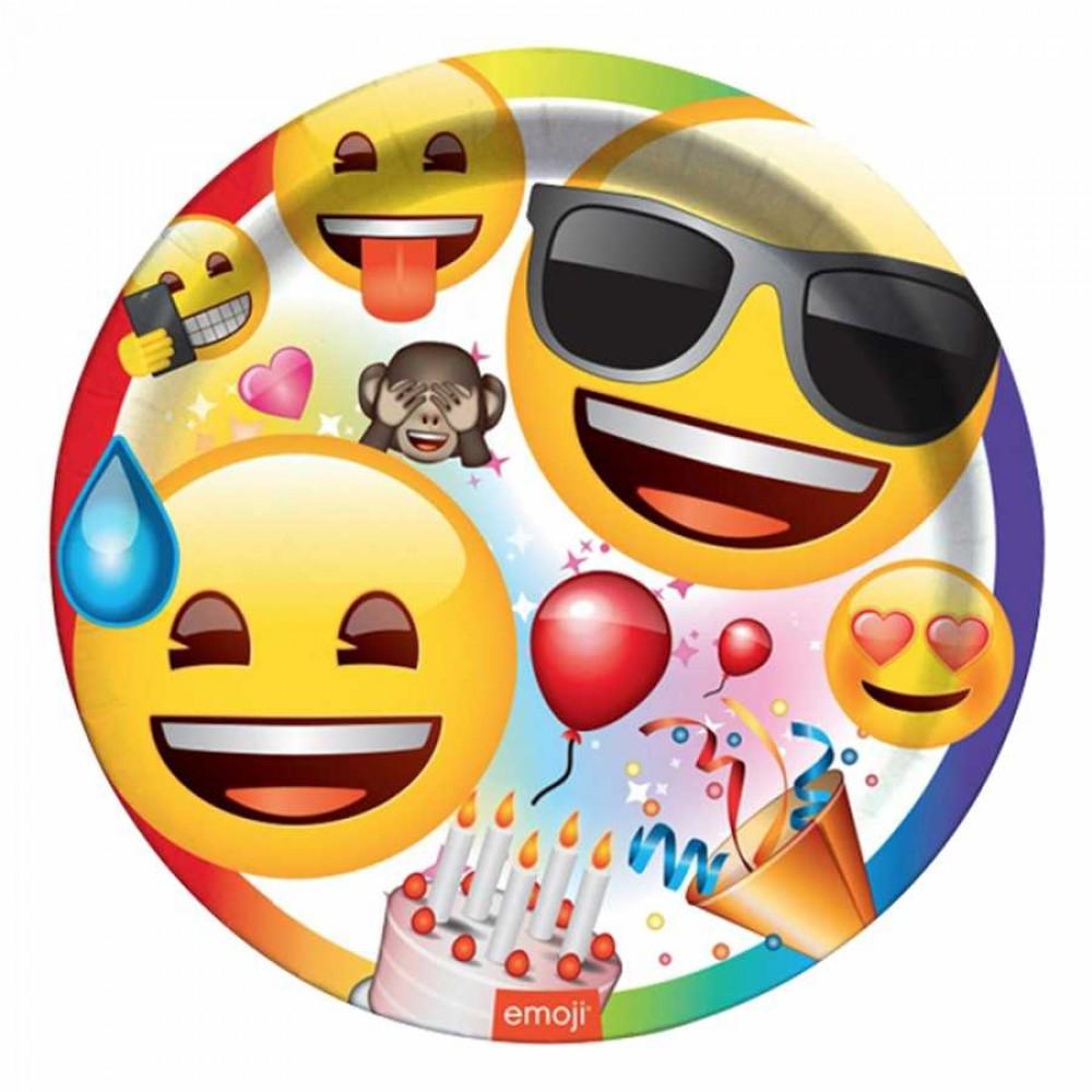 Emoji Parti Karton Tabak 23 cm 8\'li