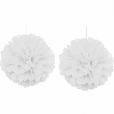 İkili Beyaz Ponpon Süs