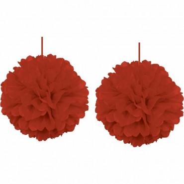 İkili Kırmızı Ponpon Süs