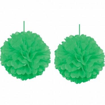 İkili Yeşil Ponpon Süs