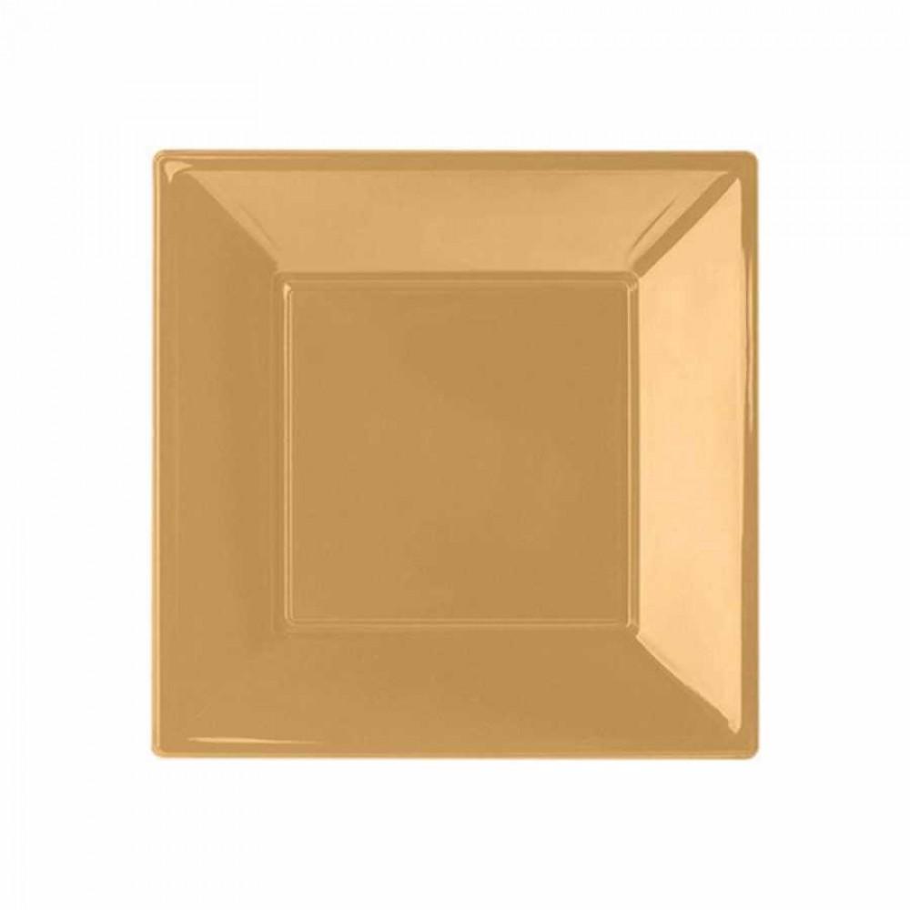Altın Plastik Kare Tabak 17 cm 8\'li