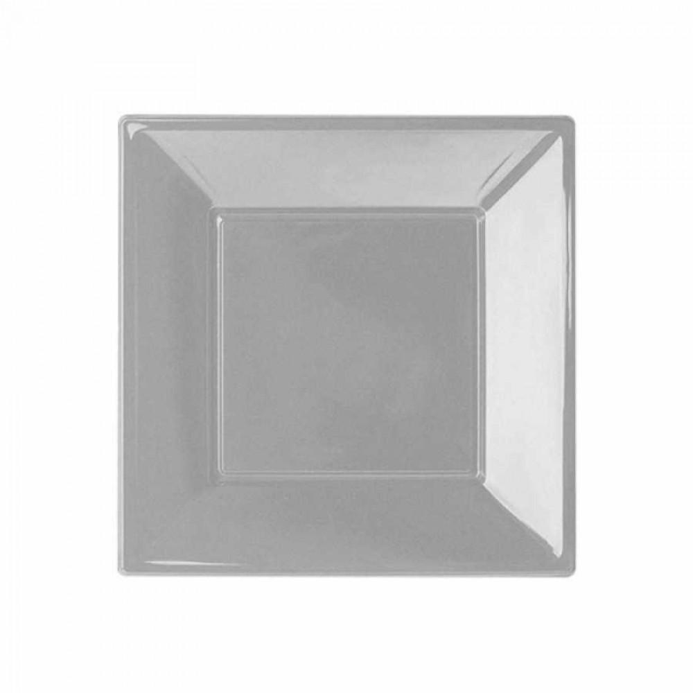 Gümüş Plastik Kare Tabak 17 cm 8\'li