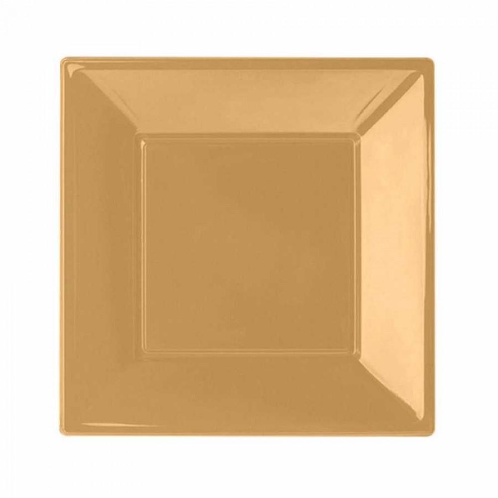 Altın Plastik Kare Tabak 23 cm 8\'li