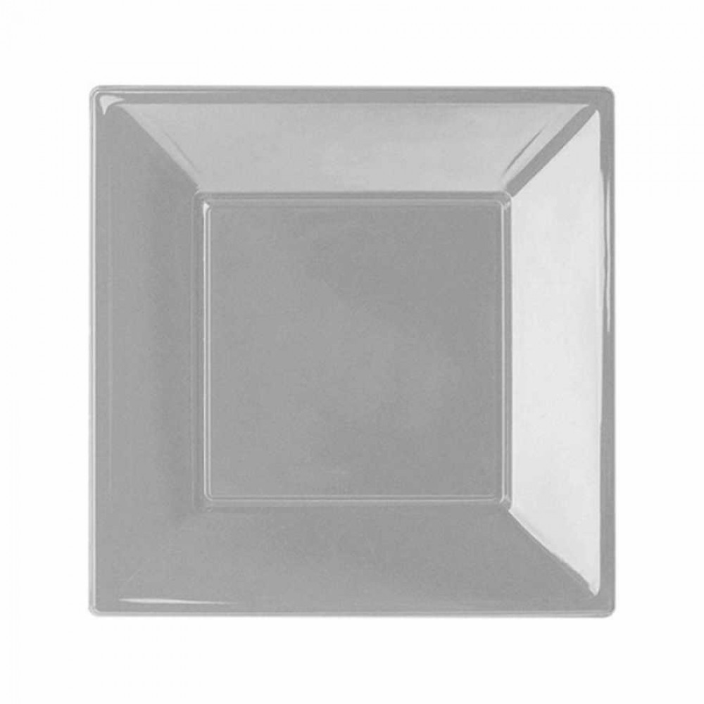 Gümüş Plastik Kare Tabak 23 cm 8\'li