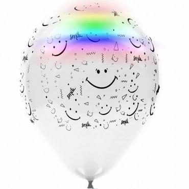 Gülen Yüz Baskılı Led Işıklı Balon