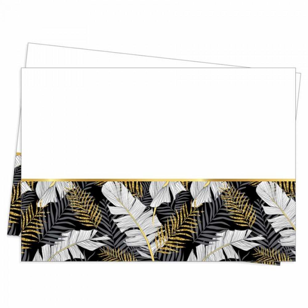 Altın Simli Yapraklar Siyah Plastik Masa Örtüsü 120x180 cm