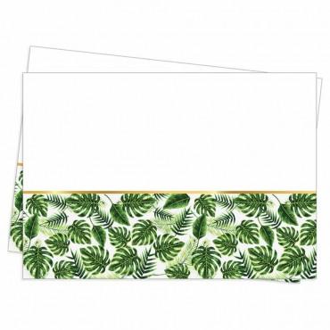 Altın Simli Yapraklar Yeşil Plastik Masa Örtüsü 120x180 cm