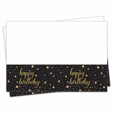 Işıltılı Doğum Günü Plastik Masa Örtüsü 120x180 cm