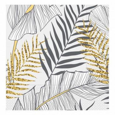 Altın Simli Yapraklar Beyaz Kağıt Peçete 33x33 cm 20\'li
