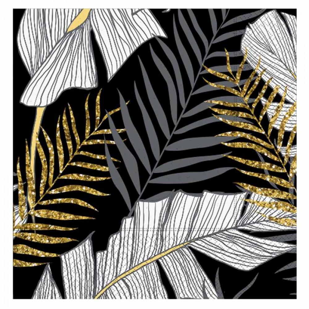 Altın Simli Yapraklar Siyah Kağıt Peçete 33x33 cm 20\'li