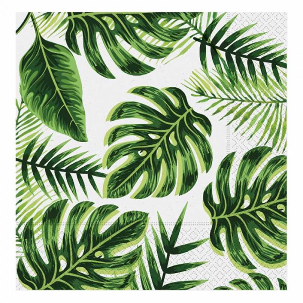 Altın Simli Yapraklar Yeşil Kağıt Peçete 33x33 cm 20\'li