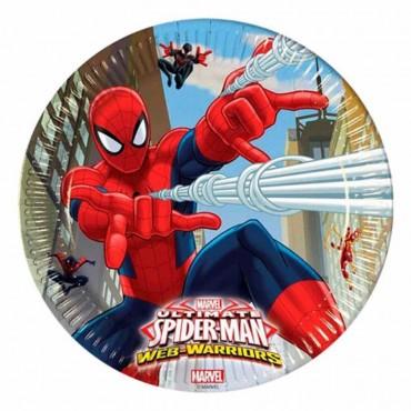 Spiderman Savaşçı Karton Tabak 23 cm 8\'li