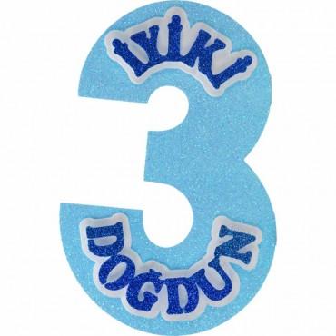 3 Rakamı İyiki Doğdun Mavi Strafor Süs